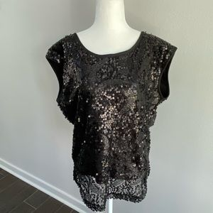 Black sequin holiday party blouse top NYE